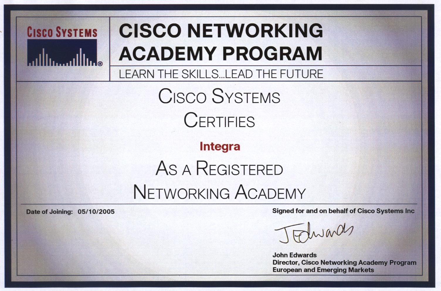 Integra ® Junior ::: What we offer - Cisco® Networking Academy ...